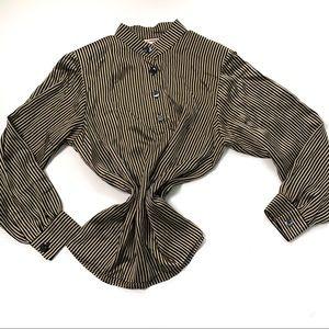 Vintage saint laurent striped blouse tan black